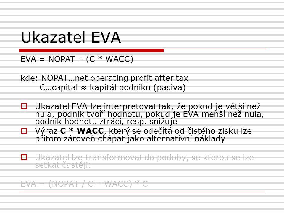 Ukazatel EVA EVA = NOPAT – (C * WACC) kde: NOPAT…net operating profit after tax C…capital ≈ kapitál podniku (pasiva)  Ukazatel EVA lze interpretovat tak, že pokud je větší než nula, podnik tvoří hodnotu, pokud je EVA menší než nula, podnik hodnotu ztrácí, resp.
