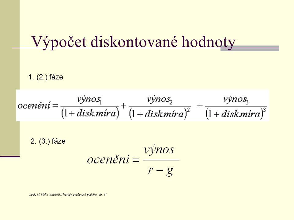 Výpočet diskontované hodnoty podle M. Mařík a kolektiv; Metody oceňování podniku; str. 41 1. (2.) fáze 2. (3.) fáze