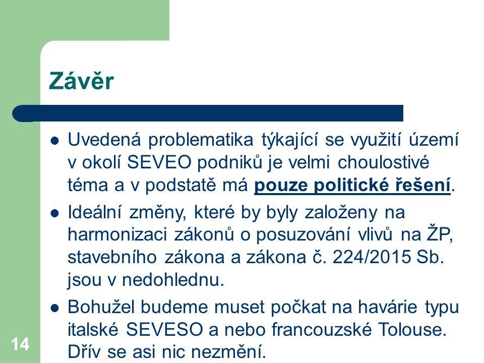 14 Závěr Uvedená problematika týkající se využití území v okolí SEVEO podniků je velmi choulostivé téma a v podstatě má pouze politické řešení. Ideáln
