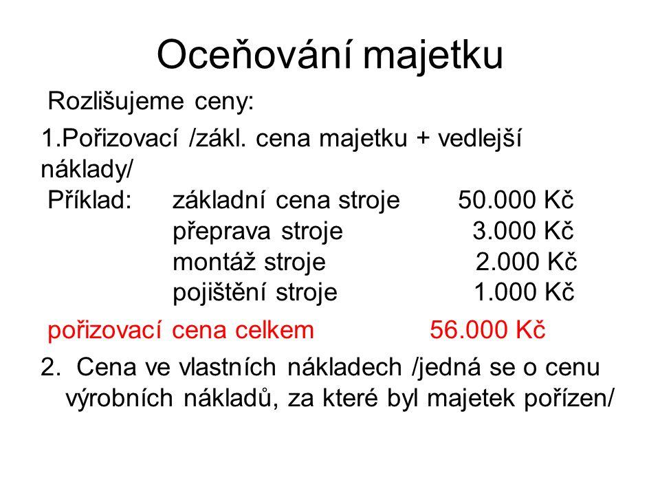 Oceňování majetku Rozlišujeme ceny: 1.Pořizovací /zákl.