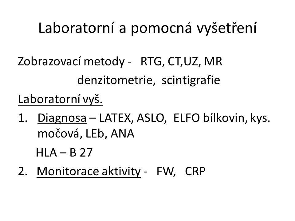 Laboratorní a pomocná vyšetření Zobrazovací metody - RTG, CT,UZ, MR denzitometrie, scintigrafie Laboratorní vyš.