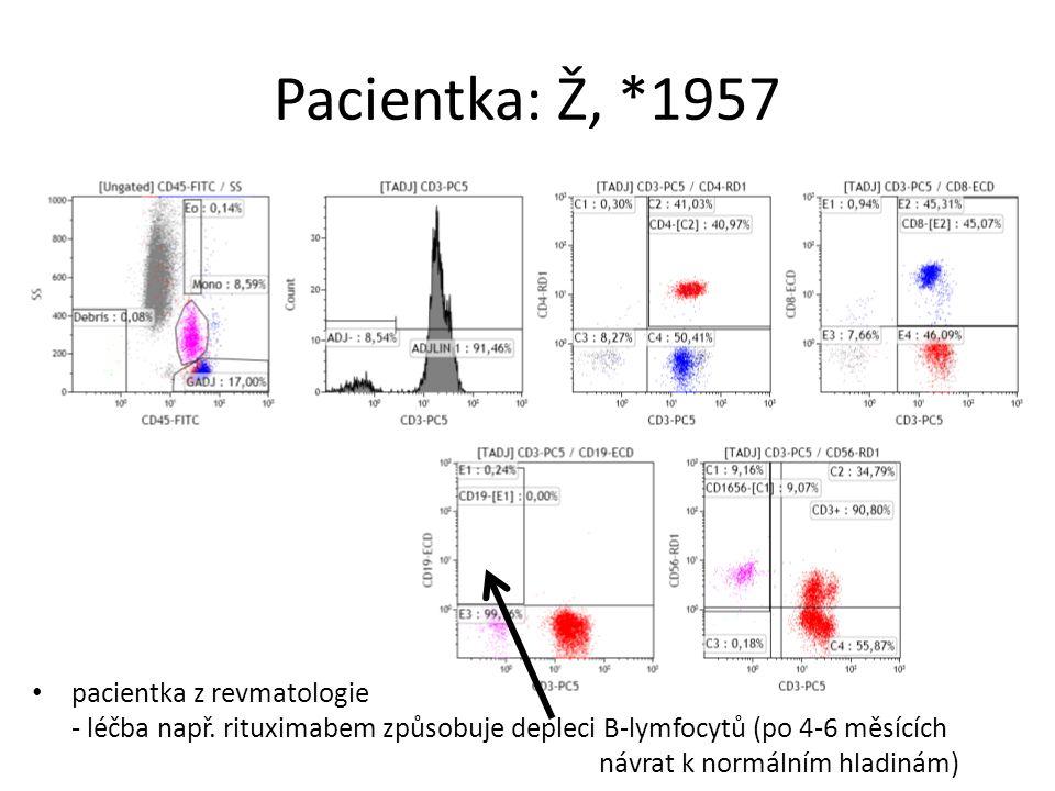 Pacientka: Ž, *1957 pacientka z revmatologie - léčba např. rituximabem způsobuje depleci B-lymfocytů (po 4-6 měsících návrat k normálním hladinám)
