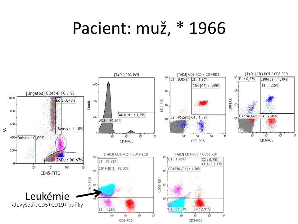Pacient: muž, * 1966 Leukémie - dovyšetřit CD5+CD19+ buňky