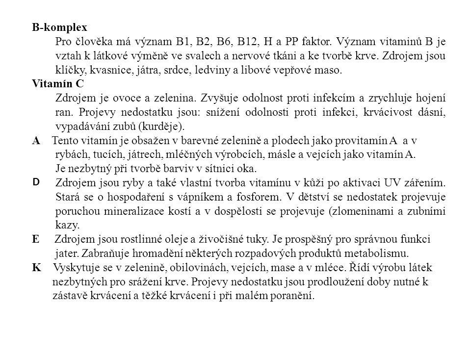 B-komplex Pro člověka má význam B1, B2, B6, B12, H a PP faktor.