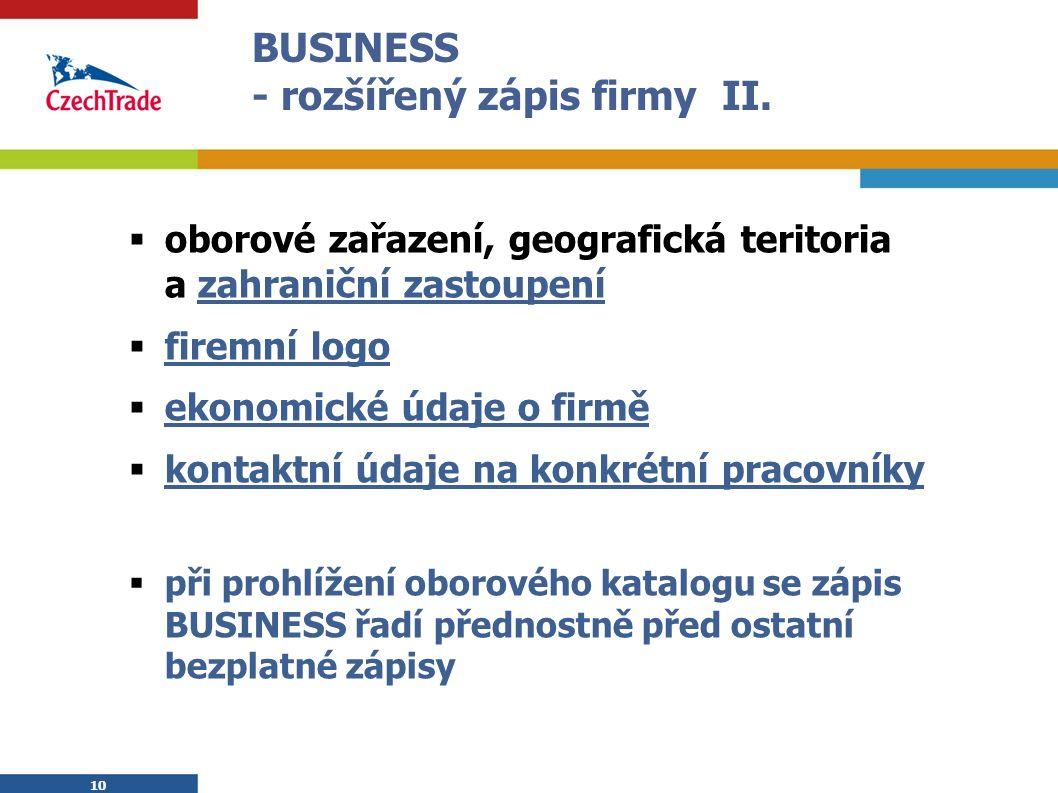 10 BUSINESS - rozšířený zápis firmy II.  oborové zařazení, geografická teritoria a zahraniční zastoupení  firemní logo  ekonomické údaje o firmě 
