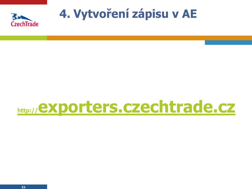 15 4. Vytvoření zápisu v AE http:// exporters.czechtrade.cz 15