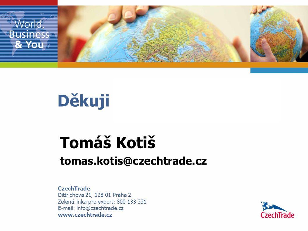Děkuji Vám za pozornost. CzechTrade Dittrichova 21, 128 01 Praha 2 Zelená linka pro export: 800 133 331 E-mail: info@czechtrade.cz www.czechtrade.cz T