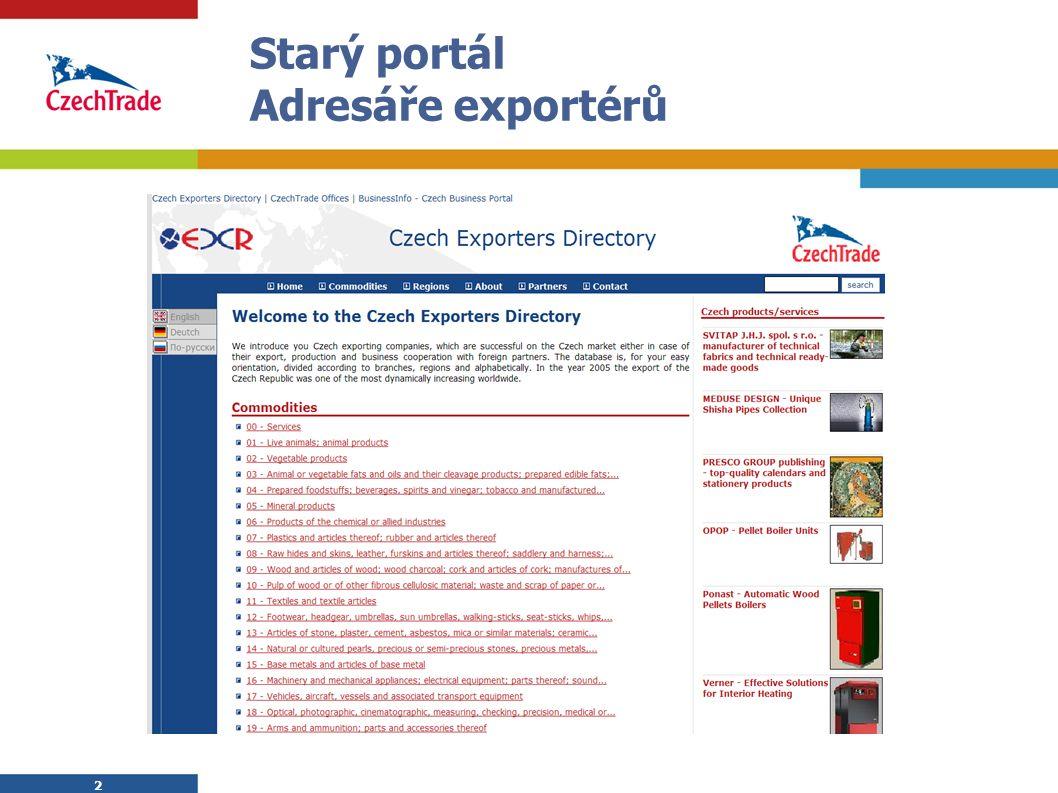 2 2 Starý portál Adresáře exportérů