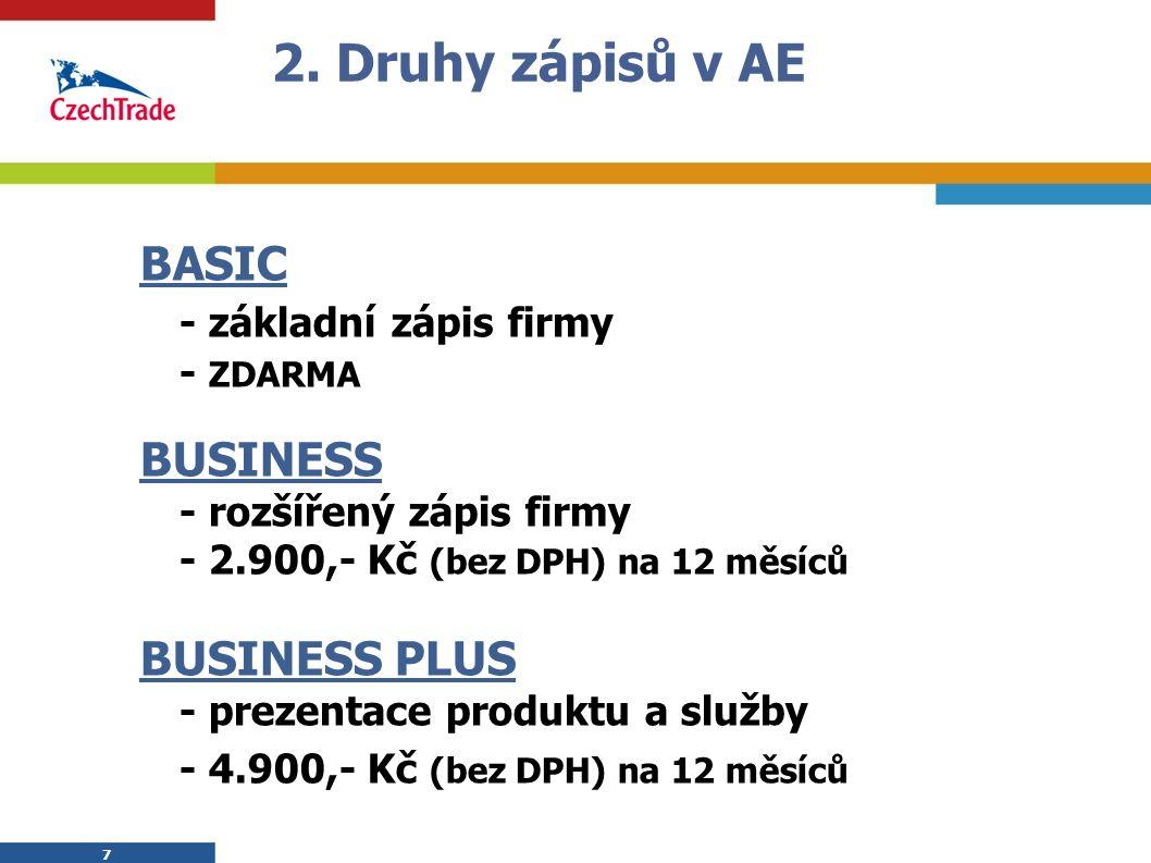 7 2. Druhy zápisů v AE BASIC - základní zápis firmy - ZDARMA BUSINESS - rozšířený zápis firmy - 2.900,- Kč (bez DPH) na 12 měsíců BUSINESS PLUS - prez
