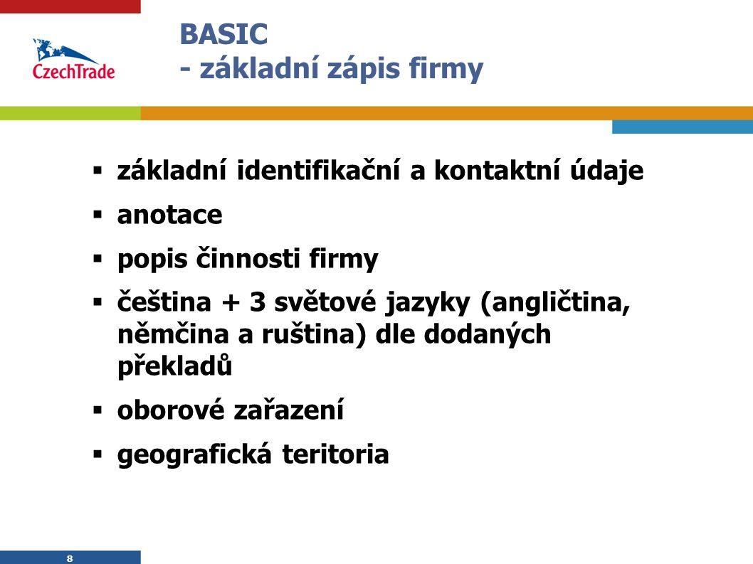 8  základní identifikační a kontaktní údaje  anotace  popis činnosti firmy  čeština + 3 světové jazyky (angličtina, němčina a ruština) dle dodaných překladů  oborové zařazení  geografická teritoria 8 BASIC - základní zápis firmy