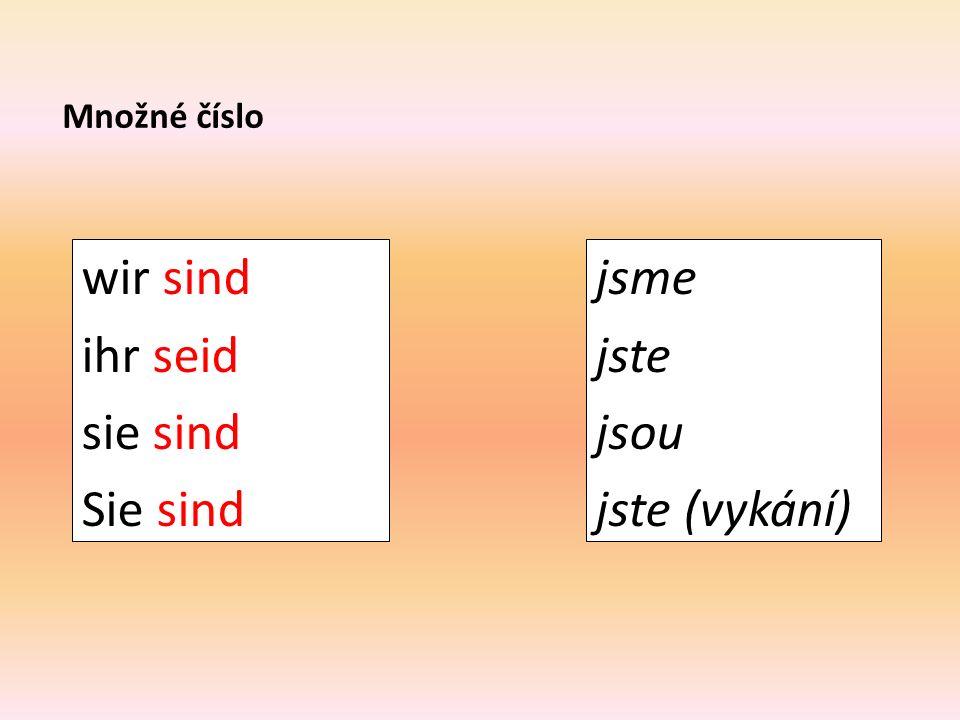 """Spojte osobní zájmeno s odpovídajícím tvarem slovesa """"sein"""