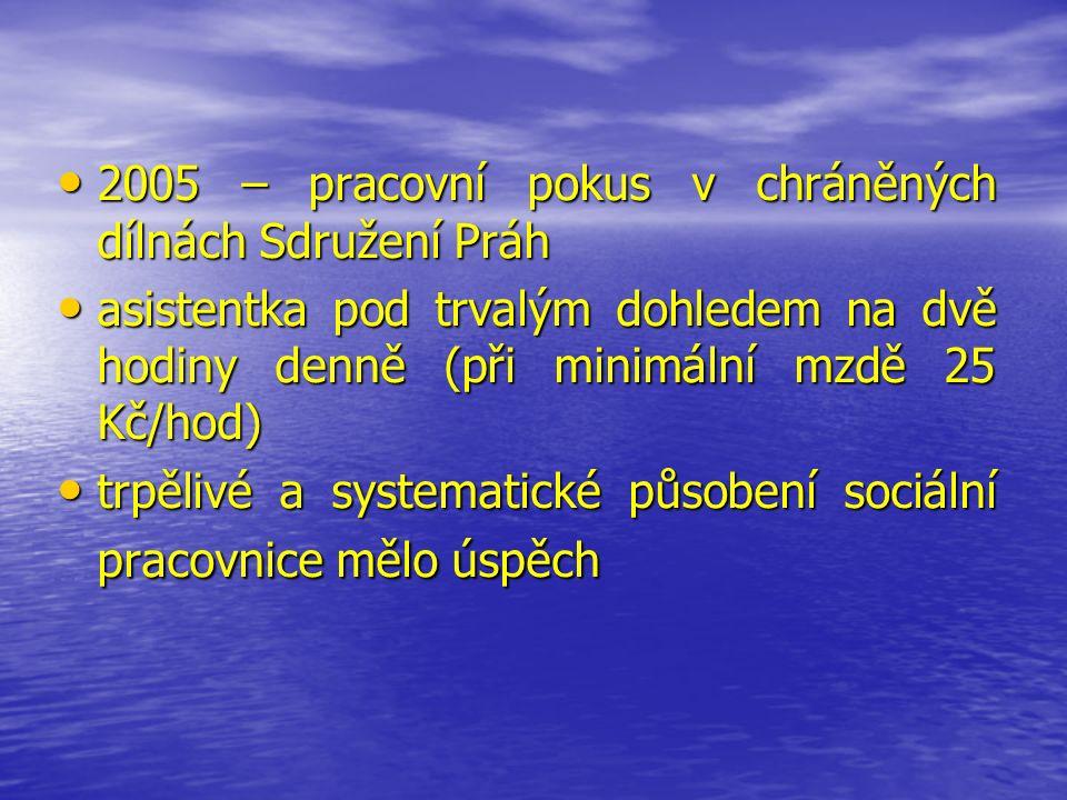 2005 – pracovní pokus v chráněných dílnách Sdružení Práh 2005 – pracovní pokus v chráněných dílnách Sdružení Práh asistentka pod trvalým dohledem na dvě hodiny denně (při minimální mzdě 25 Kč/hod) asistentka pod trvalým dohledem na dvě hodiny denně (při minimální mzdě 25 Kč/hod) trpělivé a systematické působení sociální pracovnice mělo úspěch trpělivé a systematické působení sociální pracovnice mělo úspěch
