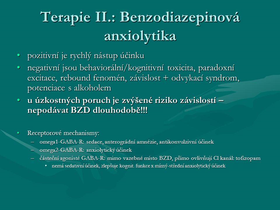 Terapie II.: Benzodiazepinová anxiolytika pozitivní je rychlý nástup účinkupozitivní je rychlý nástup účinku negativní jsou behaviorální/kognitivní to