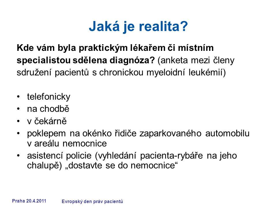 Praha 20.4.2011 Evropský den práv pacientů Jaká je realita.