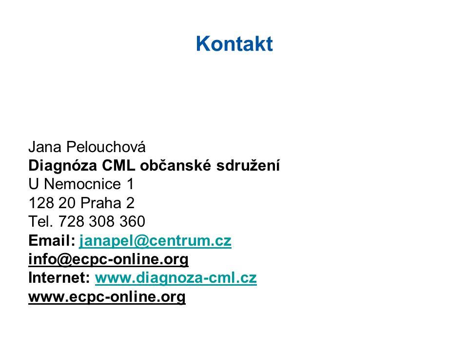 Kontakt Jana Pelouchová Diagnóza CML občanské sdružení U Nemocnice 1 128 20 Praha 2 Tel.