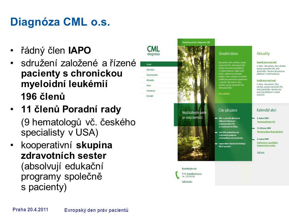 Praha 20.4.2011 Evropský den práv pacientů Diagnóza CML o.s.
