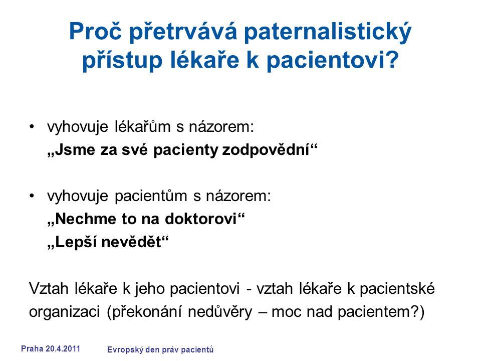 Praha 20.4.2011 Evropský den práv pacientů Proč přetrvává paternalistický přístup lékaře k pacientovi.