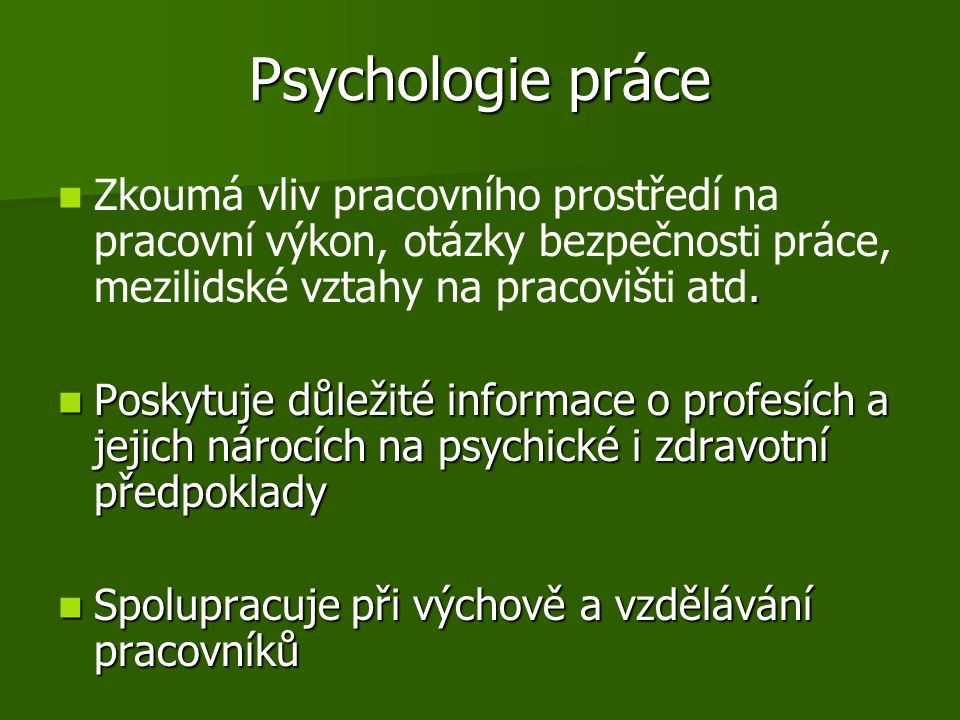 Psychologie práce.