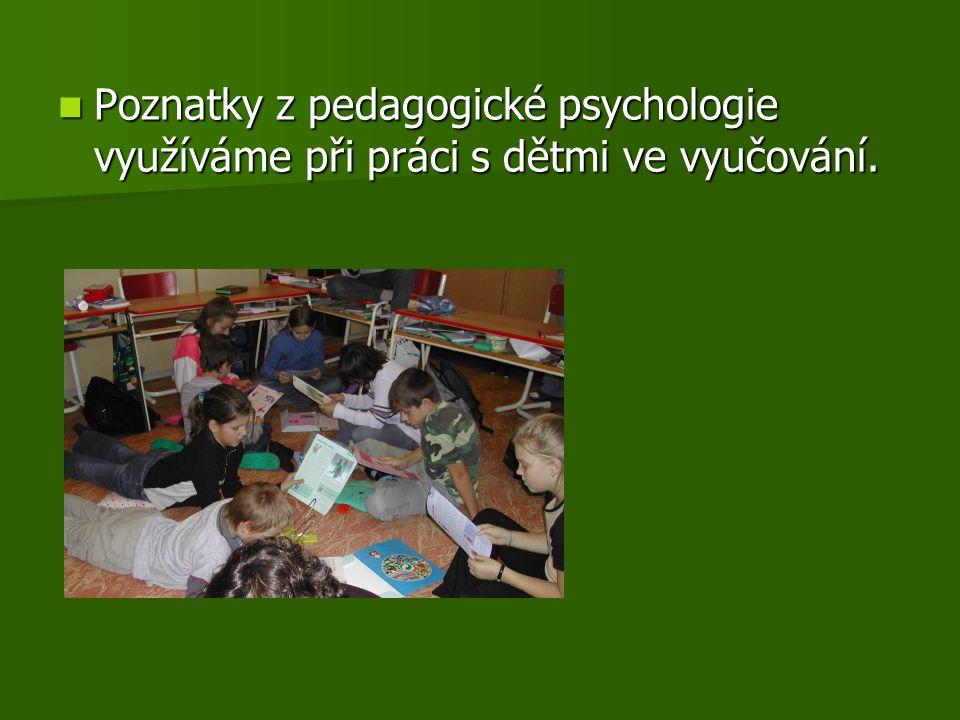 Poznatky z pedagogické psychologie využíváme při práci s dětmi ve vyučování.