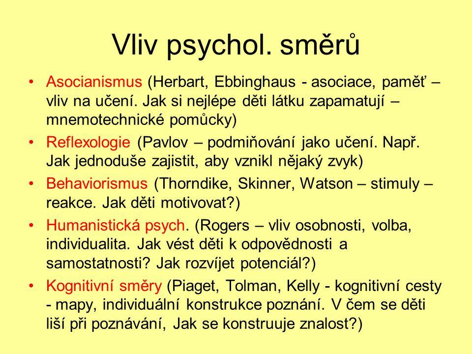 Vliv psychol. směrů Asocianismus (Herbart, Ebbinghaus - asociace, paměť – vliv na učení.