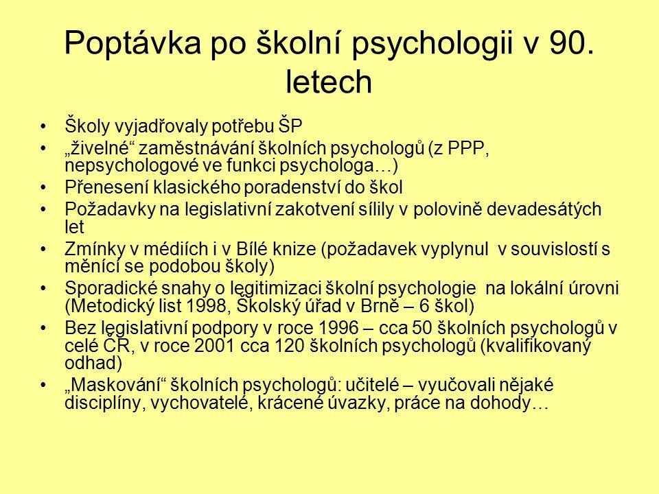 Poptávka po školní psychologii v 90.