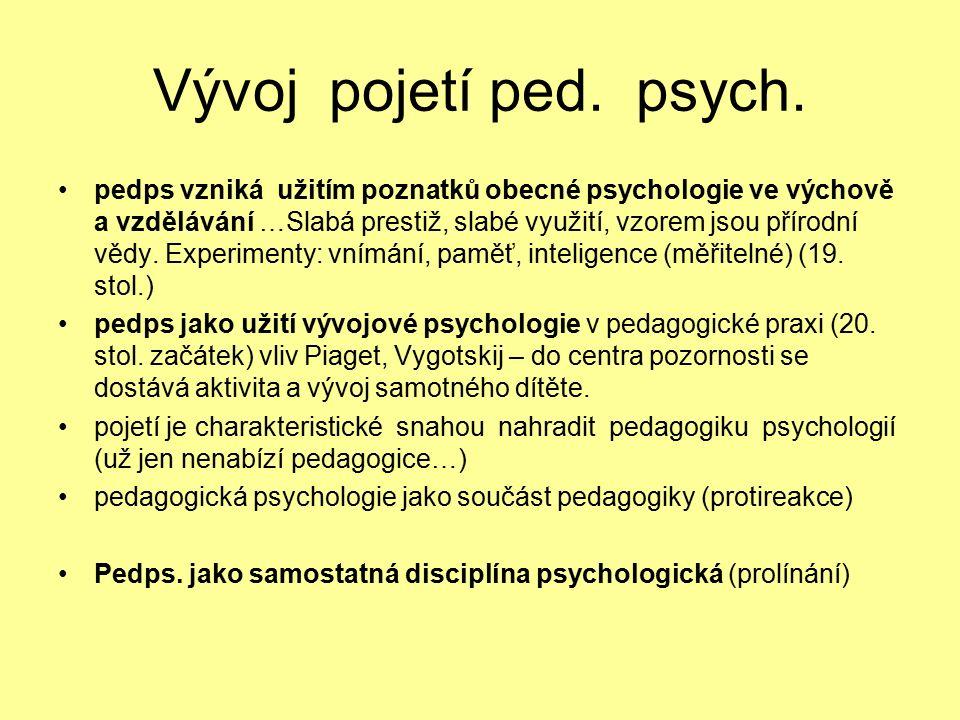 Vývoj pojetí ped. psych.