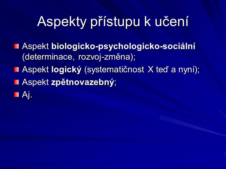 Aspekty přístupu k učení Aspekt biologicko-psychologicko-sociální (determinace, rozvoj-změna); Aspekt logický (systematičnost X teď a nyní); Aspekt zpětnovazebný; Aj.