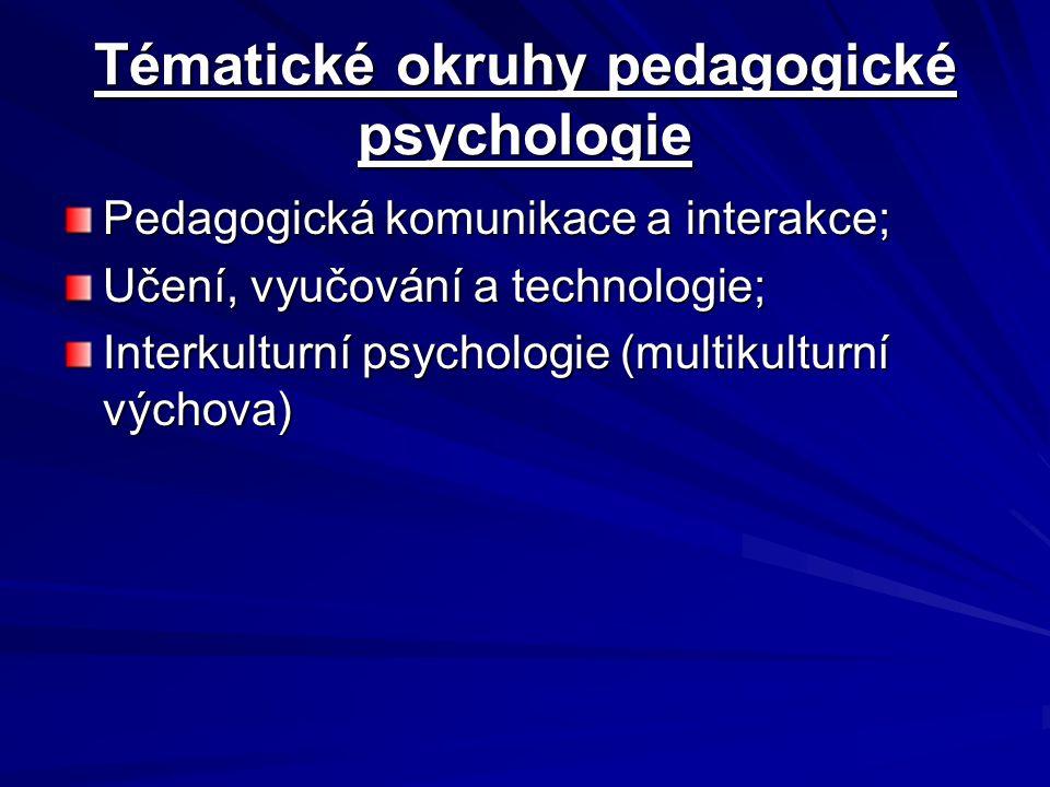 Tématické okruhy pedagogické psychologie Pedagogická komunikace a interakce; Učení, vyučování a technologie; Interkulturní psychologie (multikulturní