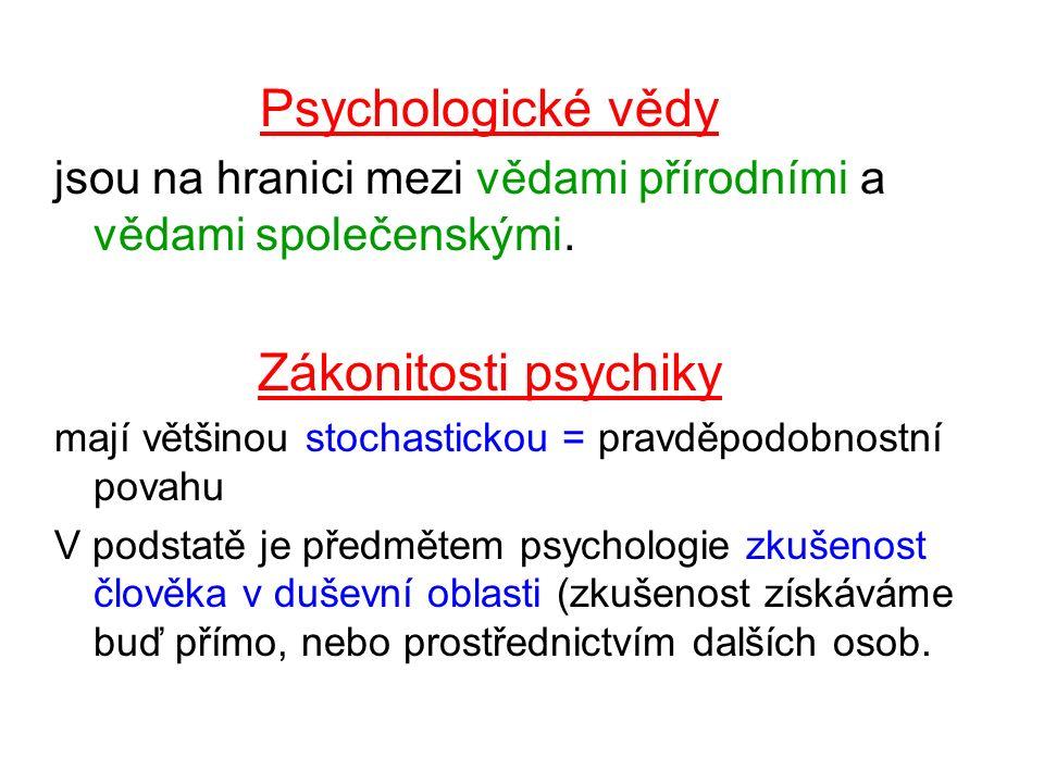 Psychologické vědy jsou na hranici mezi vědami přírodními a vědami společenskými.
