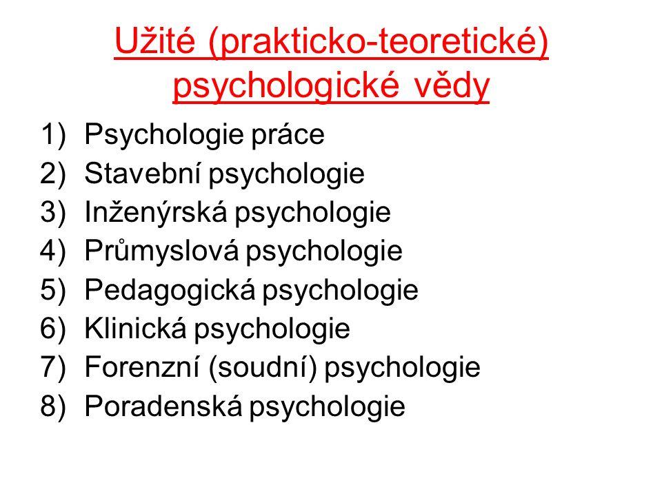 Užité (prakticko-teoretické) psychologické vědy 1)Psychologie práce 2)Stavební psychologie 3)Inženýrská psychologie 4)Průmyslová psychologie 5)Pedagogická psychologie 6)Klinická psychologie 7)Forenzní (soudní) psychologie 8)Poradenská psychologie