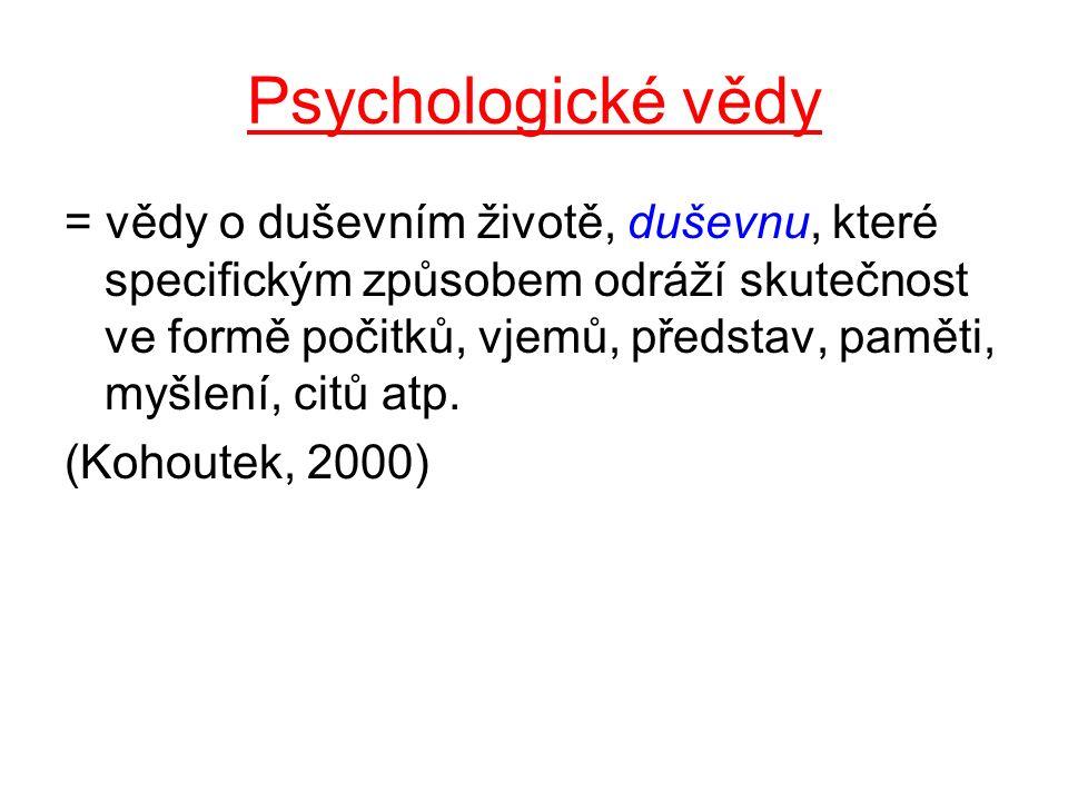 Základní (teoreticko-praktické) psychologické vědy 1)Obecná psychologie 2)Psychologie osobnosti 3)Psychopatologie 4)Ontogenetická (vývojová) psychologie 5)Biologická psychologie 6)Sociální psychologie 7)Srovnávací (diferenční) psychologie 8)Zoopsychologie
