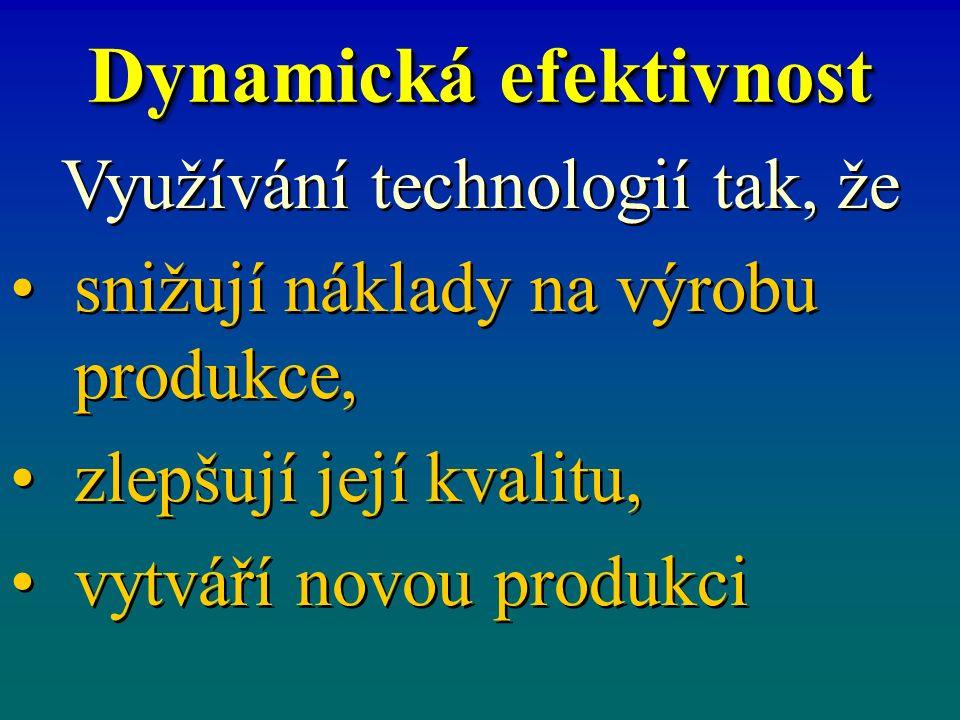 Dynamická efektivnost Využívání technologií tak, že snižují náklady na výrobu produkce, zlepšují její kvalitu, vytváří novou produkci Využívání techno