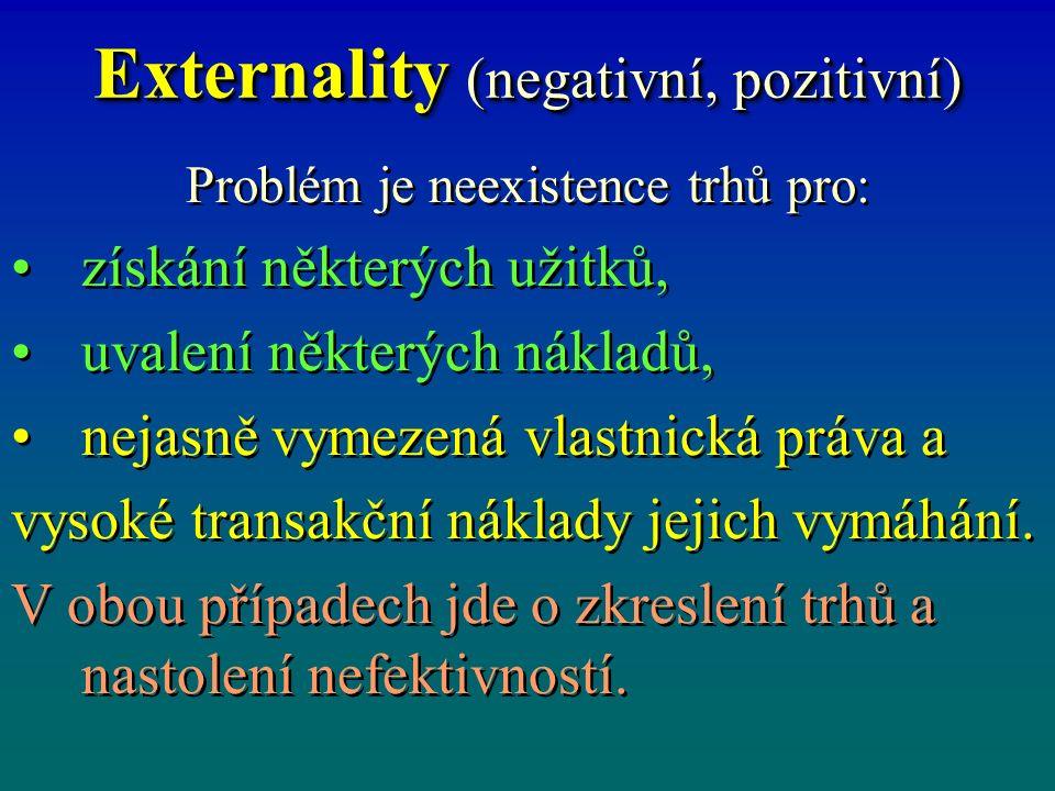 Externality (negativní, pozitivní) Problém je neexistence trhů pro: získání některých užitků, uvalení některých nákladů, nejasně vymezená vlastnická práva a vysoké transakční náklady jejich vymáhání.