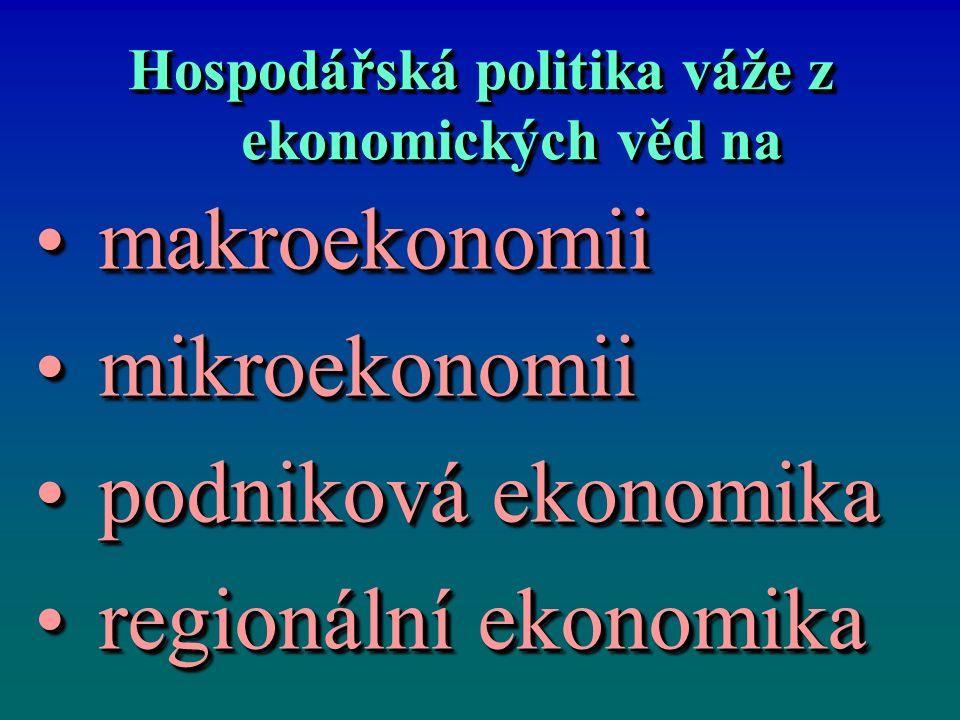Hospodářská politika váže z ekonomických věd na makroekonomiimakroekonomii mikroekonomiimikroekonomii podniková ekonomikapodniková ekonomika regionáln