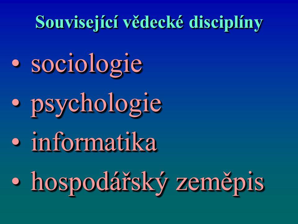 Související vědecké disciplíny sociologiesociologie psychologiepsychologie informatikainformatika hospodářský zeměpishospodářský zeměpis sociologiesociologie psychologiepsychologie informatikainformatika hospodářský zeměpishospodářský zeměpis