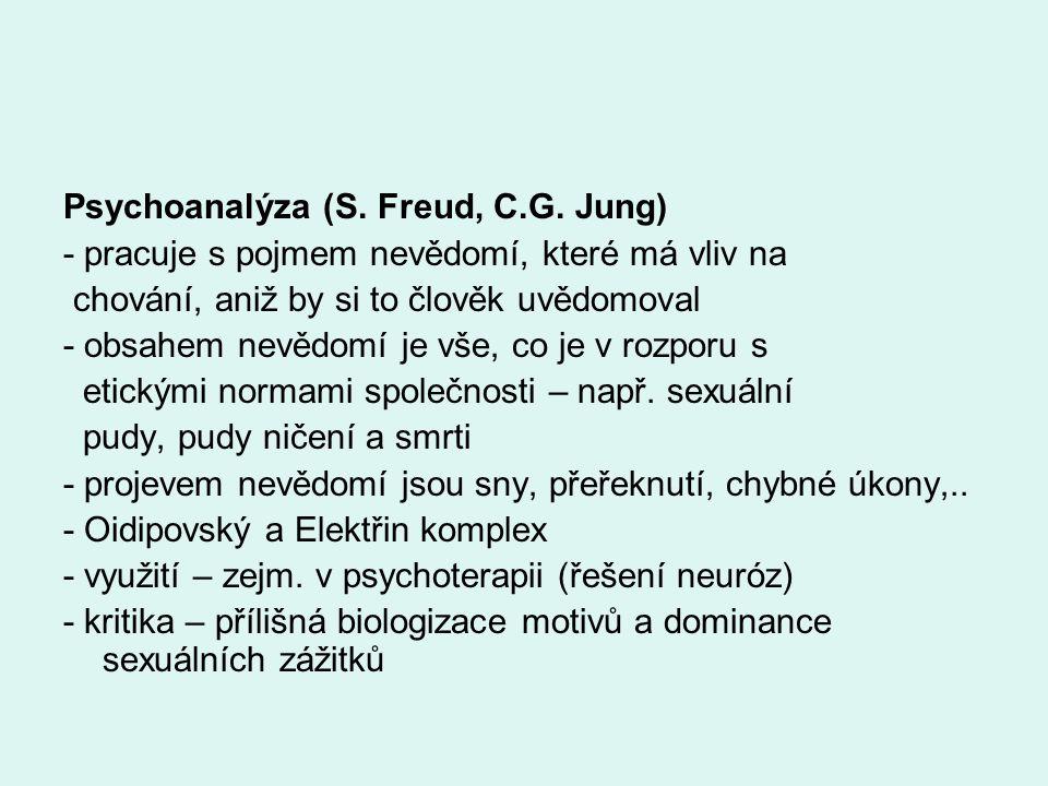 Psychoanalýza (S. Freud, C.G. Jung) - pracuje s pojmem nevědomí, které má vliv na chování, aniž by si to člověk uvědomoval - obsahem nevědomí je vše,