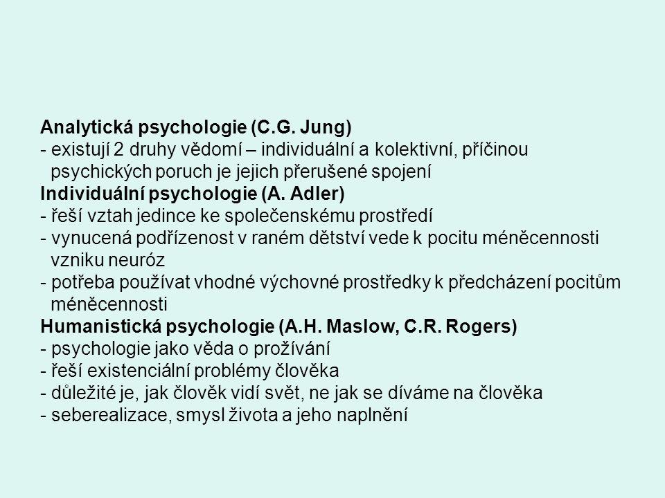 Analytická psychologie (C.G. Jung) - existují 2 druhy vědomí – individuální a kolektivní, příčinou psychických poruch je jejich přerušené spojení Indi