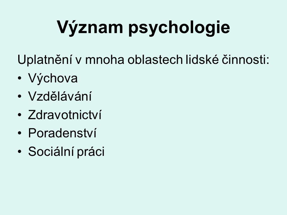 Význam psychologie Uplatnění v mnoha oblastech lidské činnosti: Výchova Vzdělávání Zdravotnictví Poradenství Sociální práci