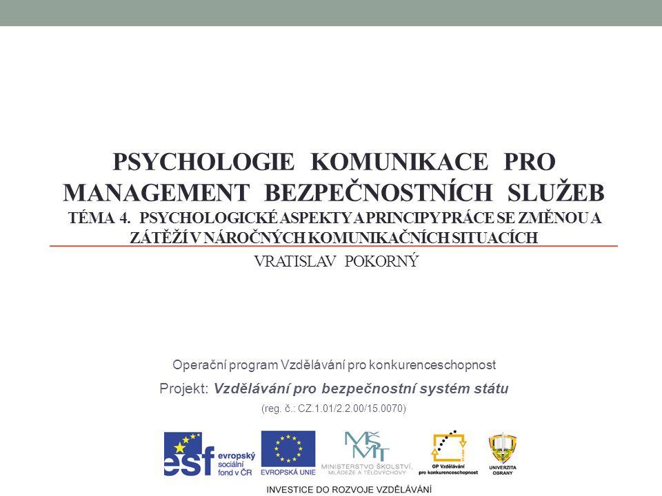 PSYCHOLOGIE KOMUNIKACE PRO MANAGEMENT BEZPEČNOSTNÍCH SLUŽEB TÉMA 4. PSYCHOLOGICKÉ ASPEKTY A PRINCIPY PRÁCE SE ZMĚNOU A ZÁTĚŽÍ V NÁROČNÝCH KOMUNIKAČNÍC