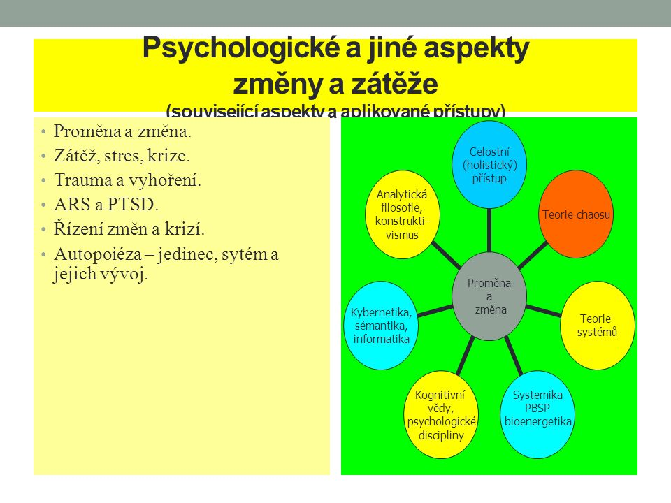 Psychologické a jiné aspekty změny a zátěže (související aspekty a aplikované přístupy) Proměna a změna. Zátěž, stres, krize. Trauma a vyhoření. ARS a