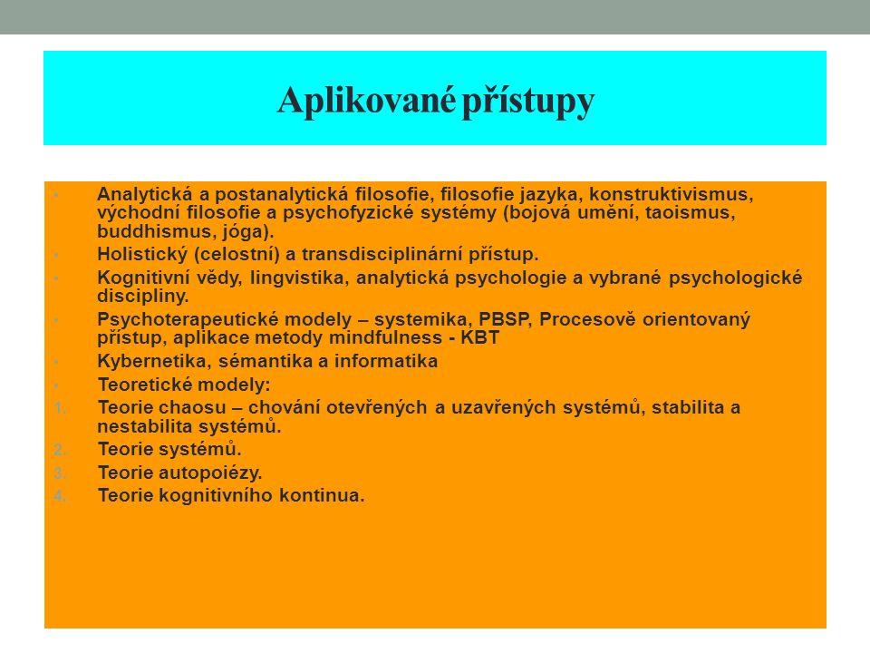 Aplikované přístupy Analytická a postanalytická filosofie, filosofie jazyka, konstruktivismus, východní filosofie a psychofyzické systémy (bojová uměn