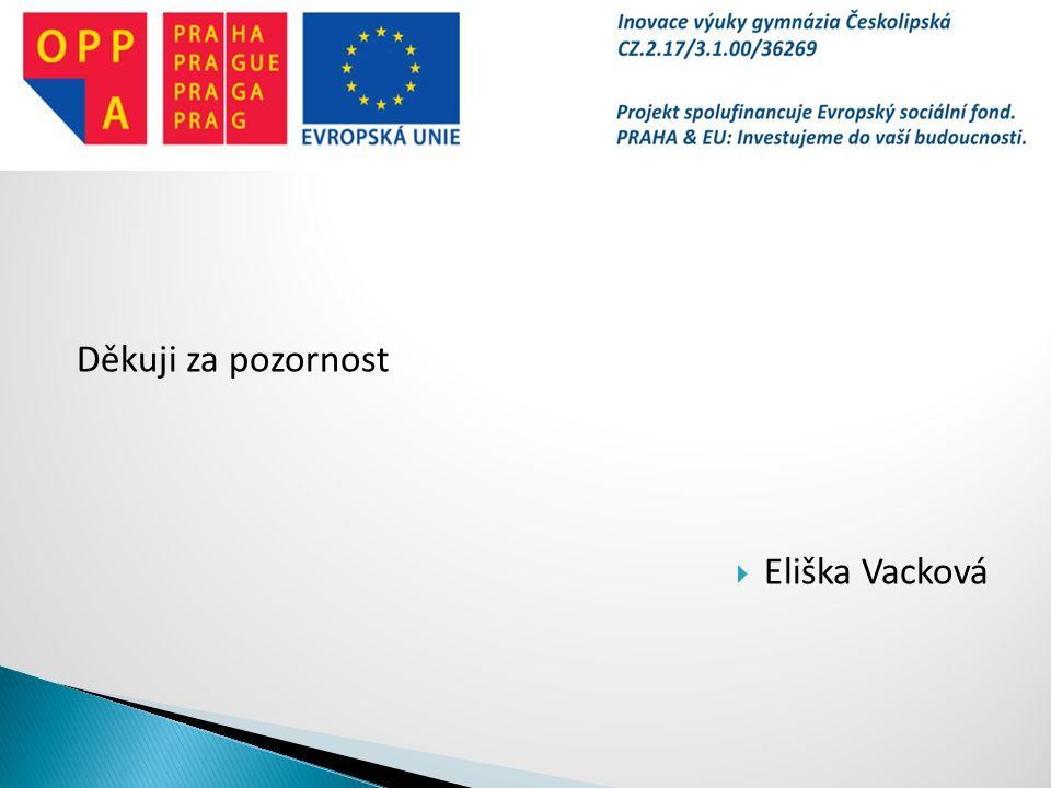 Děkuji za pozornost  Eliška Vacková