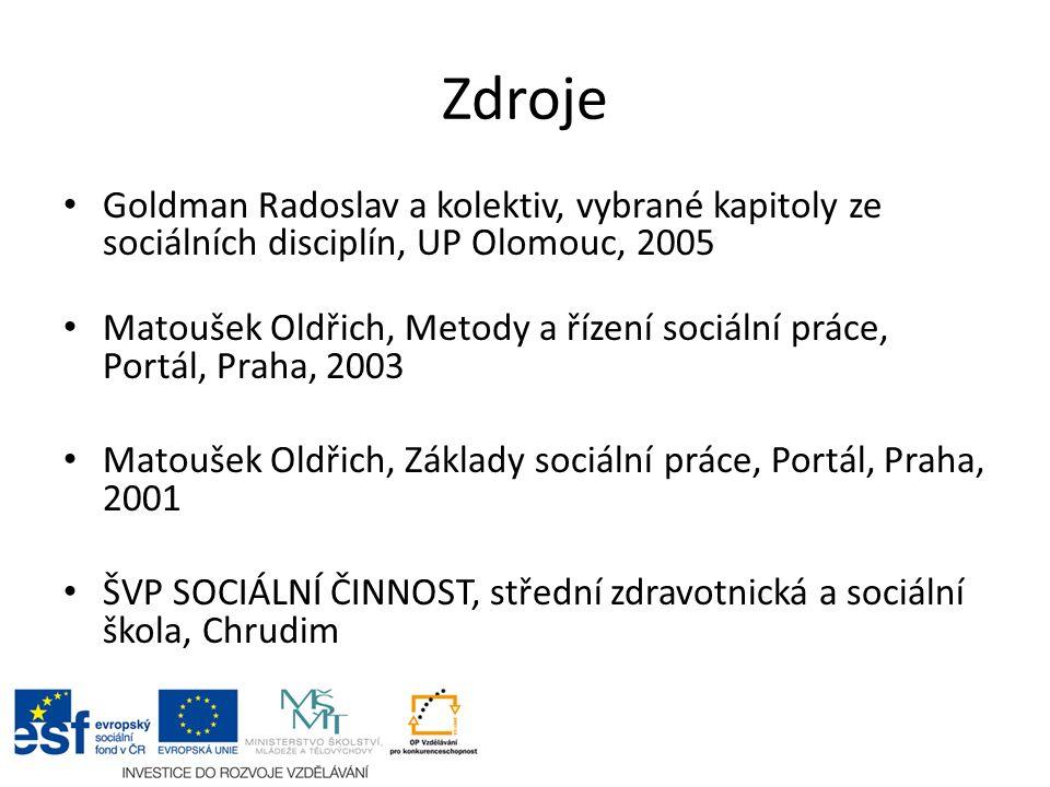 Zdroje Goldman Radoslav a kolektiv, vybrané kapitoly ze sociálních disciplín, UP Olomouc, 2005 Matoušek Oldřich, Metody a řízení sociální práce, Portá