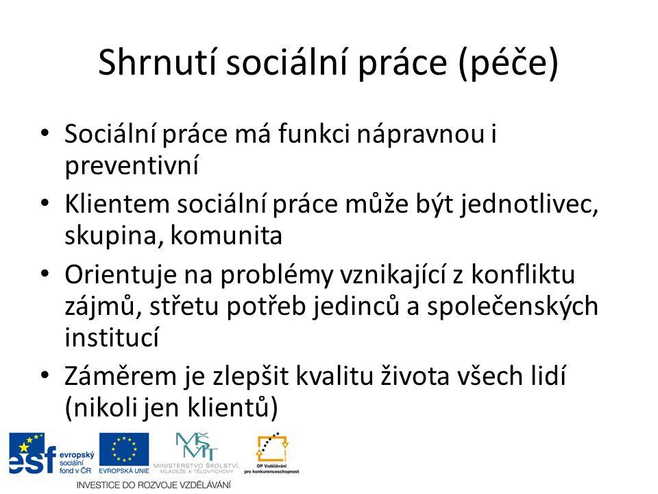 Shrnutí sociální práce (péče) Sociální práce má funkci nápravnou i preventivní Klientem sociální práce může být jednotlivec, skupina, komunita Orientu