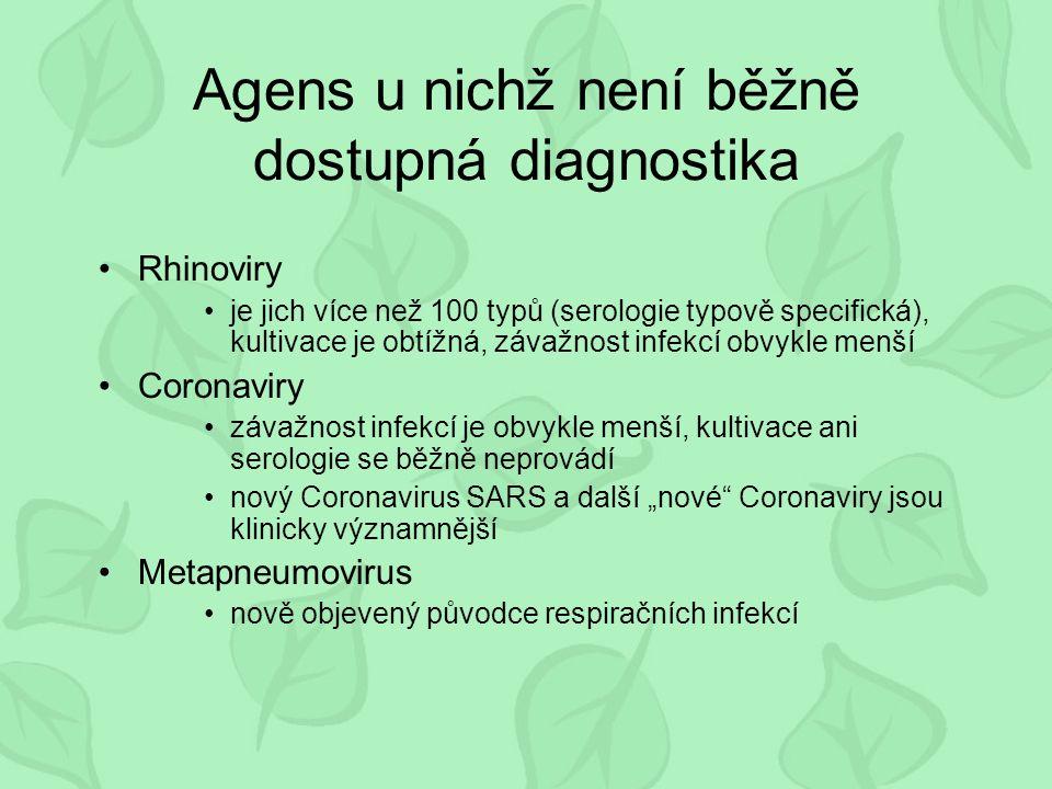 """Agens u nichž není běžně dostupná diagnostika Rhinoviry je jich více než 100 typů (serologie typově specifická), kultivace je obtížná, závažnost infekcí obvykle menší Coronaviry závažnost infekcí je obvykle menší, kultivace ani serologie se běžně neprovádí nový Coronavirus SARS a další """"nové Coronaviry jsou klinicky významnější Metapneumovirus nově objevený původce respiračních infekcí"""