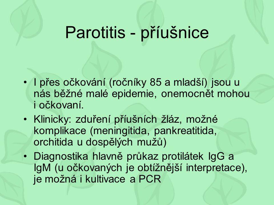 Parotitis - příušnice I přes očkování (ročníky 85 a mladší) jsou u nás běžné malé epidemie, onemocnět mohou i očkovaní.