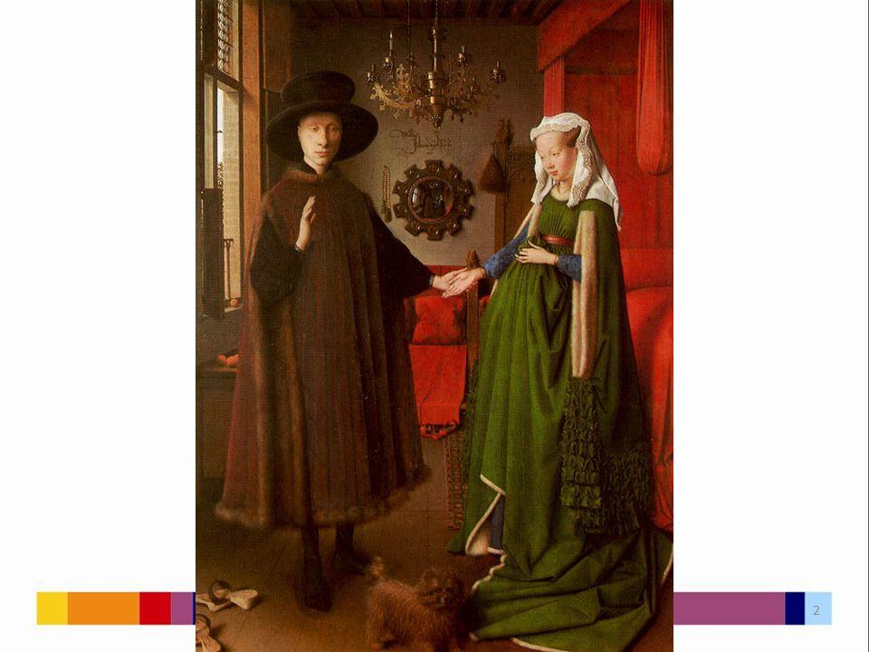 Obraz namalován v roce 1434 Olejomalba na dřevě Nyní v Národní galerii v Londýně Zasnoubení (nikoliv sňatek) Giovanni Arnolfiniho s Giovannou Cenamiovou Arnolfini – obchodník s luxusními látkami Obraz je nejstarším dvojportrétem zachycujícím celé postavy; má mnoho alegorických detailů 3