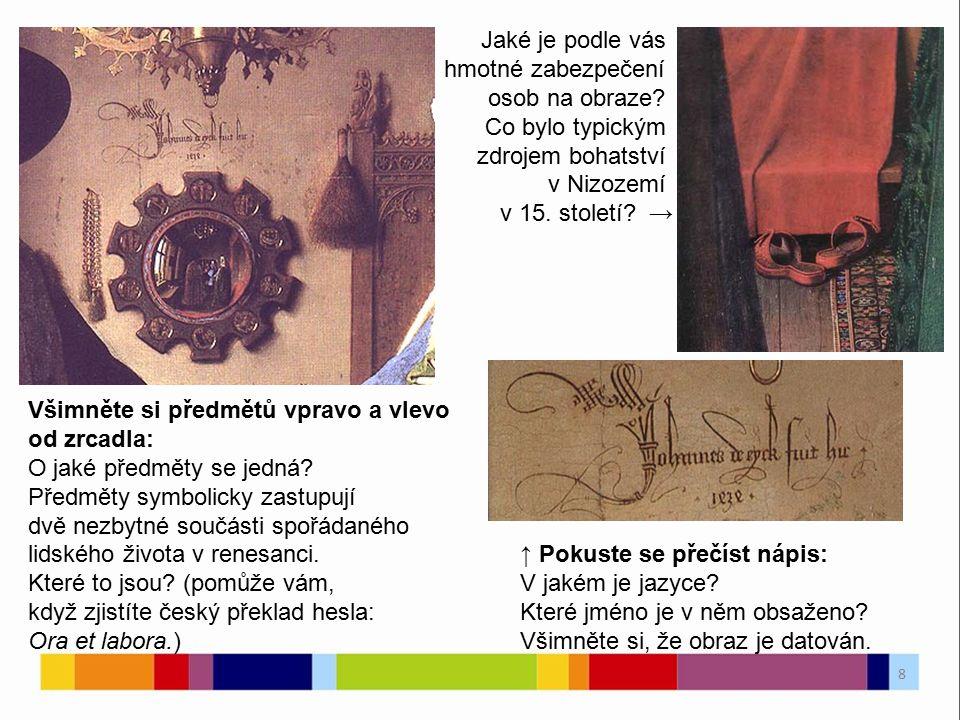 Všimněte si předmětů vpravo a vlevo od zrcadla: O jaké předměty se jedná.