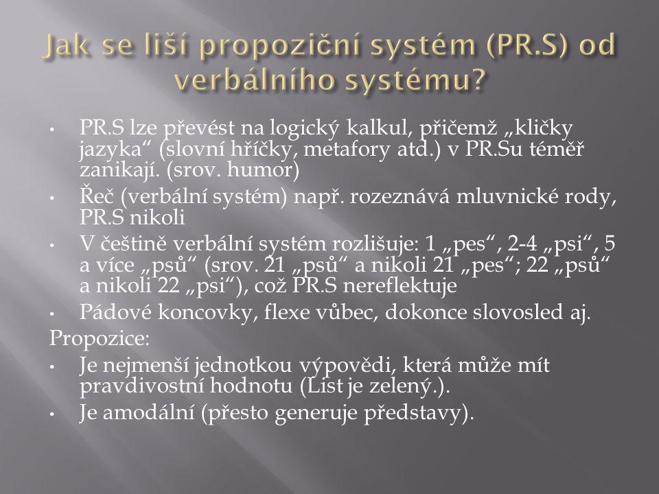 """PR.S lze převést na logický kalkul, přičemž """"kličky jazyka (slovní hříčky, metafory atd.) v PR.Su téměř zanikají."""