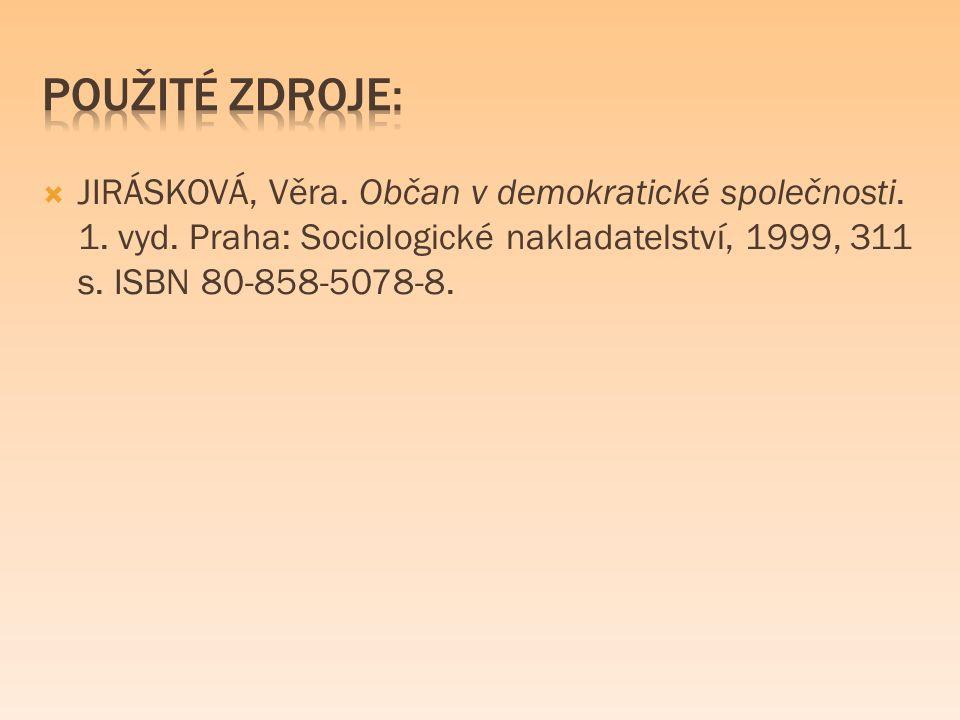  JIRÁSKOVÁ, Věra. Občan v demokratické společnosti. 1. vyd. Praha: Sociologické nakladatelství, 1999, 311 s. ISBN 80-858-5078-8.